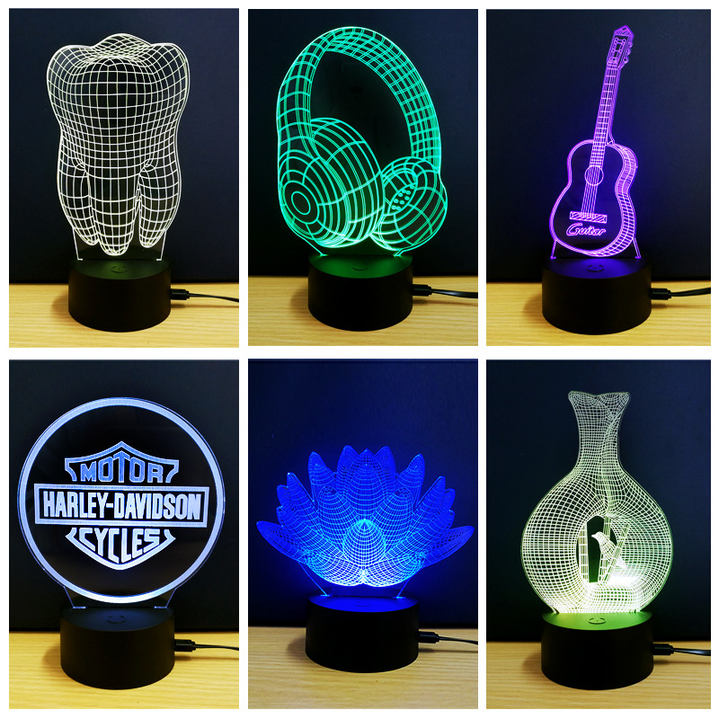 Creative 3D Visual Piano Model Illusion Lamp LED 7 Color Changing Novelty Bedroom Night Light Music Home decor RGB Table Lamp novelty 3d full moon lamp led night light usb rechargeable color changing desk table light home decor 8 10 12 15 18 20cm