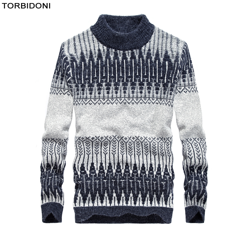2017 Mens Sweaters And Pullovers High Collar New Autumn Warm Fashion Brand Patchwork Casual Sweaters O