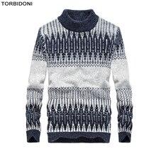 2017 мужские свитера и пуловеры Высокий воротник новый Осень Теплый модный бренд Лоскутная Повседневная Свитера с круглым вырезом Вязание M-3XL
