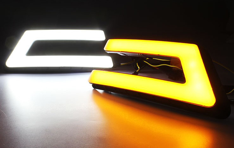 For Ford Focus 3 MK3 2012~2015 Daytime Running Light DRL LED Fog Lamp Cover With Yellow Turning Signal Functions
