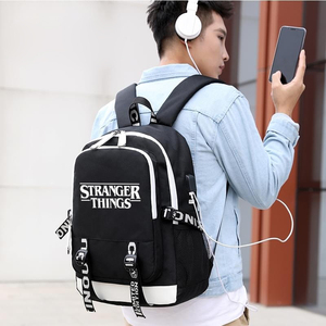 Image 5 - Stranger Things Teenage Backpack for Boys Girls Luminous School Bag USB charging Anti theft and Waterproof backpack for school
