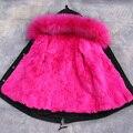 Forro de Piel de Conejo de lujo Niñas niños Abrigo de Invierno Los Niños Chaquetas y abrigos Grandes Cuello de Piel Gruesa de Los Niños Parkas Abrigo DQ179