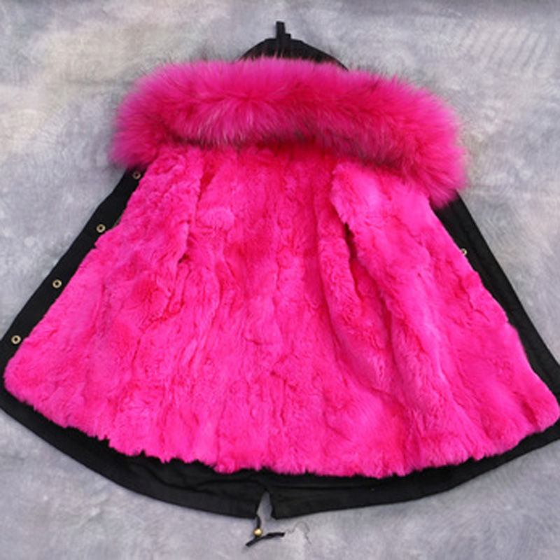 Luxury Rabbit Fur Liner Girls Boys Winter Coat Kids Jackets & Coats Big Fur Collar Children's Thick Warm Parkas Coat DQ179