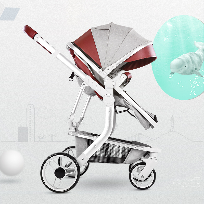 цена на 3 in 1 Poetable Mother Kids Stroller with Four Wheels Aluminum Alloy Folding Push Car Made in China Gifts for Baby