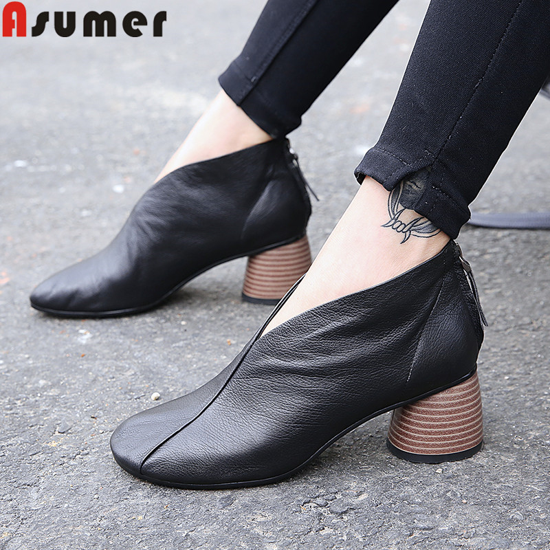 ASUMER fashion new genuine leather shoes round toe slip on thick high heels shoes classic prom dress shoes women pumps shoes-in Women's Pumps from Shoes    1