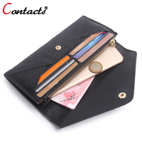 CONTACT S Womens Wallets And Purses Leather Genuine Luxury Brand Card Holder Envelope Clutch Black Dollar