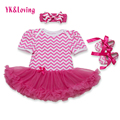 Summer Baby Girl Clothing Stripe Print Clothes Set Cotton Romper with Lace Ruffle Jumpsuit for Princess Kids Dresses 2017 Summer