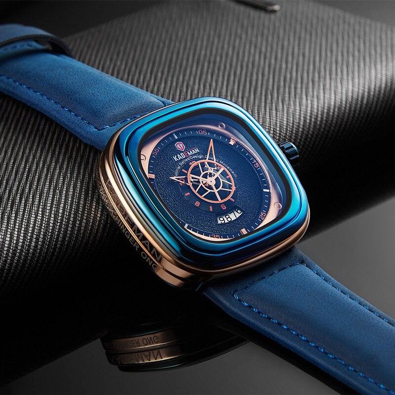 2019 hommes de luxe montres nouvelle mode carré Quartz montre haut marque KADEMAN décontracté en cuir montres affaires Relogio Masculino