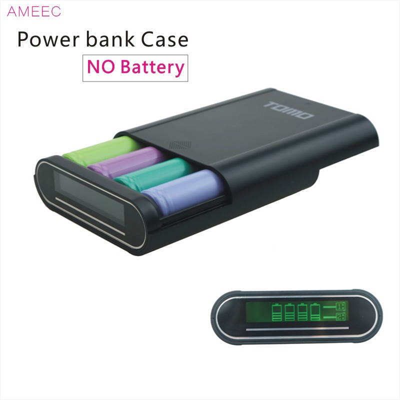 TOMO T4 18650 Power Bank Battery Box Charger 2 Usb Ports 5V2A Charging For 4pcs 18650 lithium batteries LCD Screen Charger Case