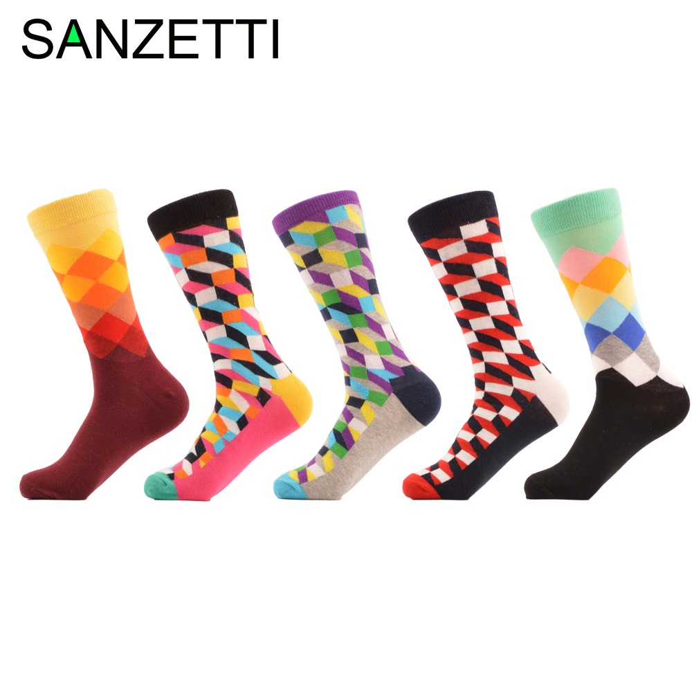 SANZETTI 5 pair/lot Filled Optic Argyle Diamond Pattern Luxury Combed Cotton Socks Dress Men Socks Long Wedding Gift US 7.5-12