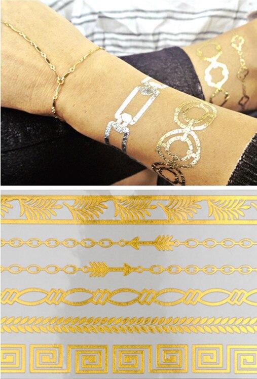 5 шт./лот набор золотых татуировок нетоксичные водонепроницаемые временные 15 типов боди-арт сексуальные ожерелья браслеты флэш тату наклей...