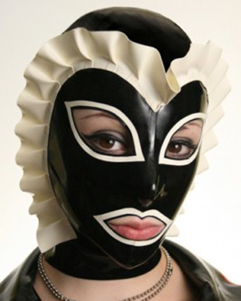Buy Unisex Sexy Latex Rubber Hoods Spliced Mask Lace Wigs Plus Size Hot Sale Customize service