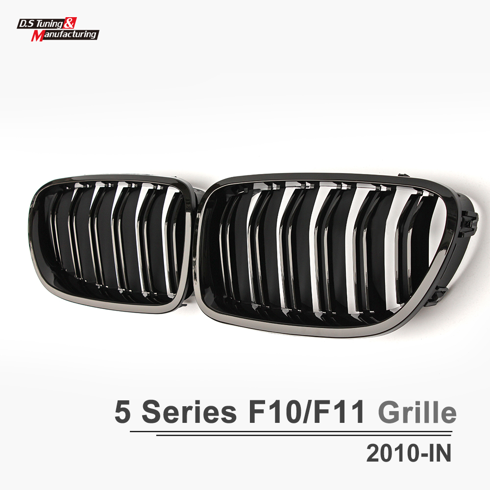 F10 ABS Front Racing Grille Kidney M5 Look Mesh Grills For BMW 5 Series F10 2010 - IN 520i 528i 535i 545i 2-Fin Glossy Black brand new for bmw e61 air suspension spring bag touring wagon 525i 528i 530i 535i 545i 37126765602 37126765603 2003 2010