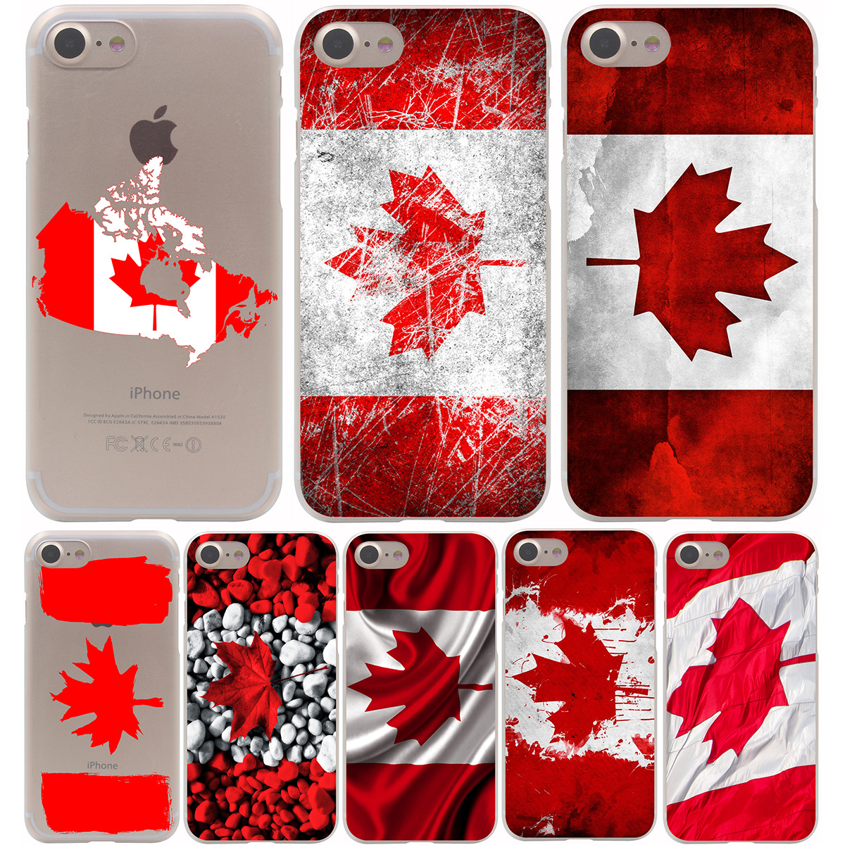 new style 99124 bee61 Canada flag Hard Transparent Case for iPhone 7 7 Plus 6 6S Plus 5 5S ...