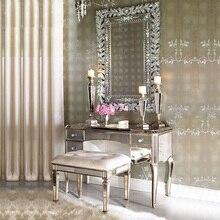 Дворцовый стиль 100 см комод шкаф и стул/зеркало и золотая поверхность панели/Серебряный вариант и Индивидуальный размер