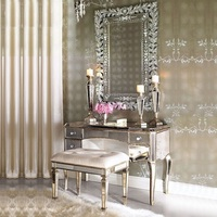 Palace Style 100cm Dresser Cabinet and Stool / Mirror and Gold / Silver Option