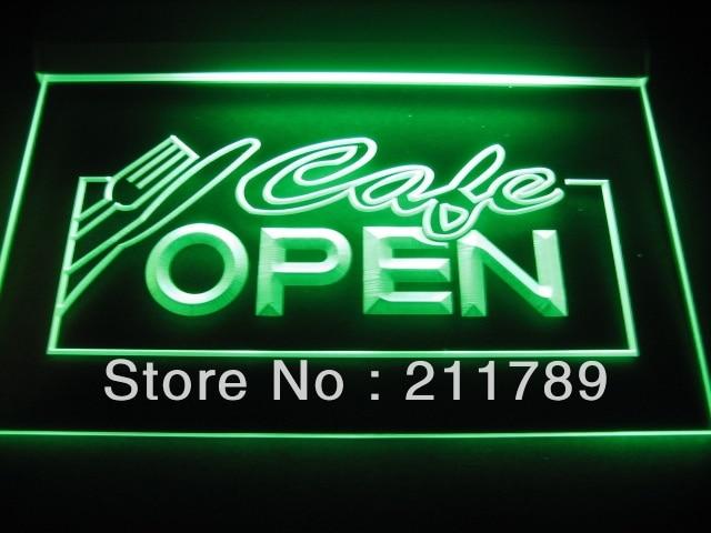 b0165-b OPEN Cafe NR Restaurant Business Neon Light Sign