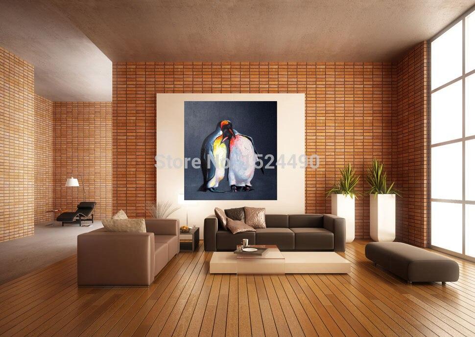 Ручная роспись Современная Настенная картина для гостиной украшение дома два милых пингвина мультфильм животное картина маслом на холсте