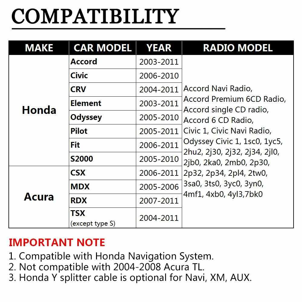 hight resolution of  atocoto y splitter cable wire harness aux cd changer nav usb adapter for honda accord city