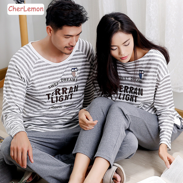 8e708a9178 Long Sleeve Cotton Men   Women Pajamas Sleepwear Autumn Couple Pyjamas  Nightwear Classic Striped Letters Lovers