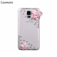 Rhinestone Luxury 3D Camellia Flower Hard Back Case Cover For Samsung Galaxy S5 I9600 For Samsung