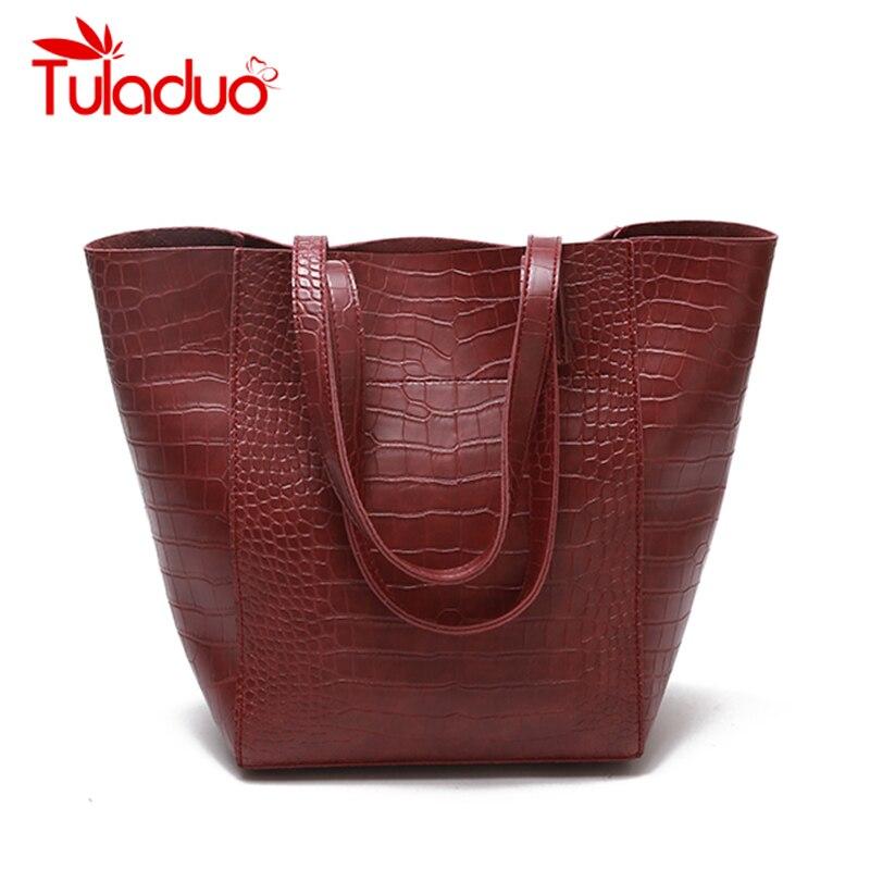 4f2f8cc5c6ce Detail Feedback Questions about TuLaduo Brand Women Handbag New Crocodile  Leather Retro Female Women Bag Large Capacity Shoulder Bags Designer Casual  Tote ...