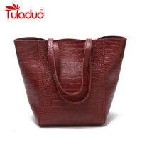TuLaduo Brand Women Handbag New Crocodile Leather Retro Female Women Bag Large Capacity Shoulder Bags Designer