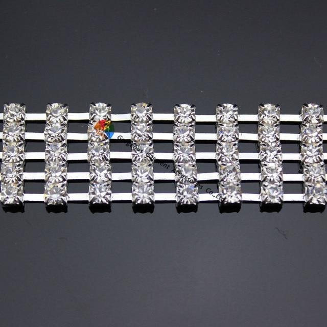 1 yard 5 rows Clear Czech crystal Rhinestone Chain Diamante Applique Sash  Trims 20mm Width Silver Gold Set For DIY browbands b391eaa09182