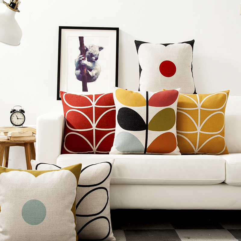Modern Geometric Flower Linen Pillow Cover Floral Petals Cushion Cover Home Decorative Pillows Linen Pillowcase Sofa Cushion