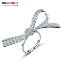 LZESHINE Brand Exaggerated CZ Finger Rings 925 Sterling Silver Party Jewelry Accessories Sparkling Rings For Women