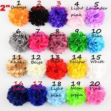 100 шт/партия, 5 см Сетка шифон цветок для головные уборы повязка на голову аксессуары для одежды
