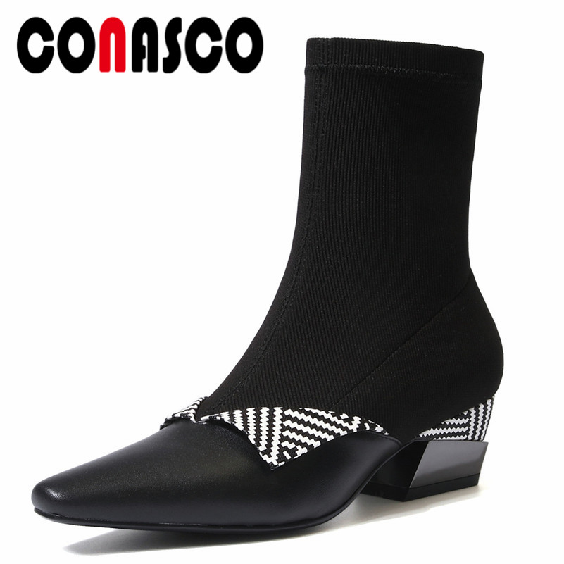 CONASCO Fashion Women Ankle Boots Autumn Winter Warm Genuine Leather High Heels Shoes Woman Elegant Zipper Brand  Stretch BootsCONASCO Fashion Women Ankle Boots Autumn Winter Warm Genuine Leather High Heels Shoes Woman Elegant Zipper Brand  Stretch Boots