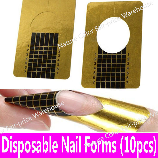 10pcs Golden Rectangle Nail Forms Art Sculpting Acrylic Uv Gel False Fake Tips Edge Extension Tools Guide Paper In Form From Beauty