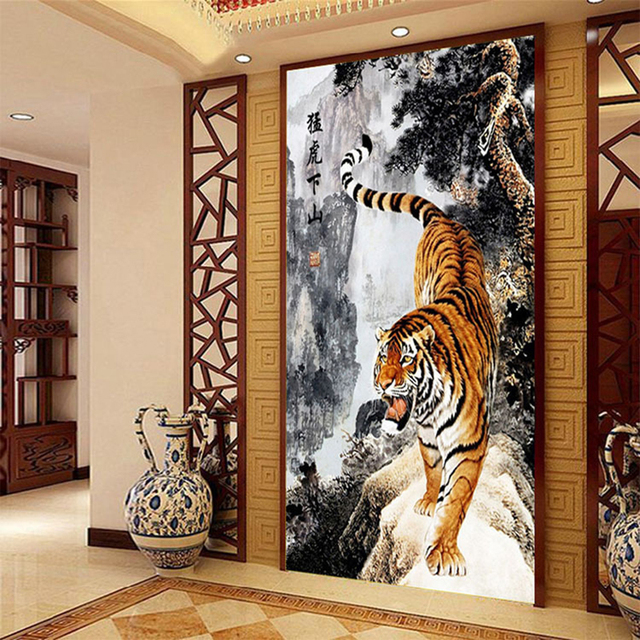 5d Diamond Painting Tiger King Of The Forest Chinese Ink Painting Style Home Decor Diy Needlework