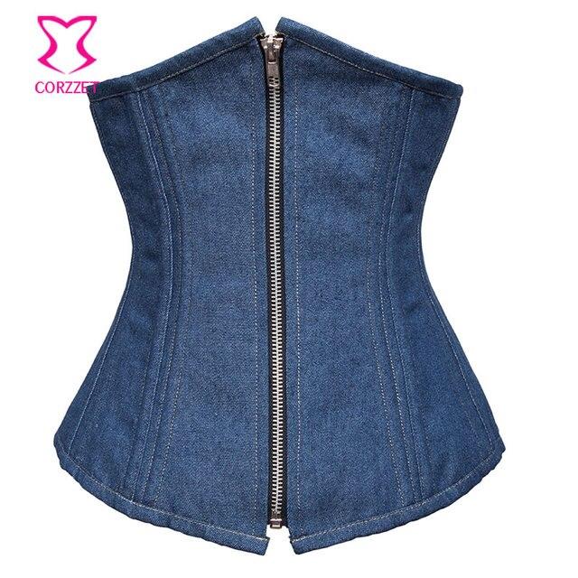 70cdd83aa5 Blue Denim Underbust Corset Sexy Corselet Waist Trainer with Zipper Bustier  Femme Steel Boned Corsets and