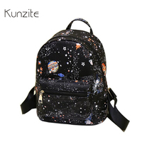 Kunzite Brand Women Luxury Printing Backpack Small High Quality Pu Leather School Bags For Teenagers Women