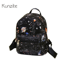 Kunzite Brand Women Luxury Printing Backpack Small High Quality Pu Leather School Bags For Teenagers  women mochilas mujer 2017