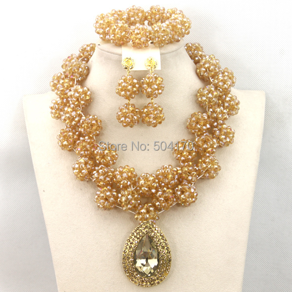 Champagne Gold Nigerian Wedding Beads Jewelry Set 2017 African Fashion Bead Necklace Set Free Shipping GS310Champagne Gold Nigerian Wedding Beads Jewelry Set 2017 African Fashion Bead Necklace Set Free Shipping GS310