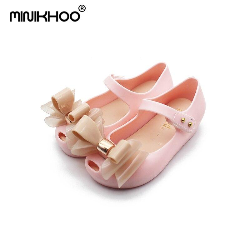 Mini Melissa Original Brands Fold Bow Girls Jelly Sandals 2018 Girls Beach Sandals Melissa Jelly Shoes 15-18.5cm High Quality