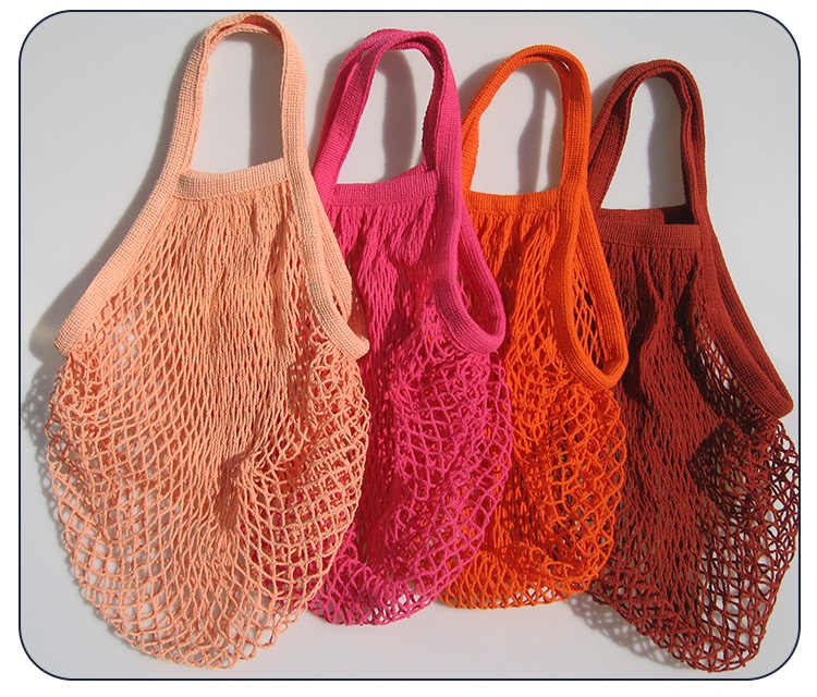 ブランド新 1 ピース再利用可能な文字列ショッピング食料品バッグショッパートメッシュネット織コットンバッグ手トートバッグ