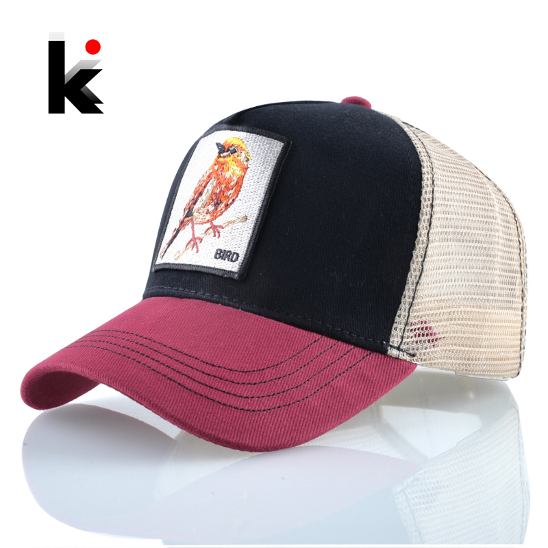 Summer   Baseball     Caps   Men Women Outdoor Breathable Mesh Visor Hats Fashion Bird Embroidery Snapback Bones Streatwear Hip Hop Bone