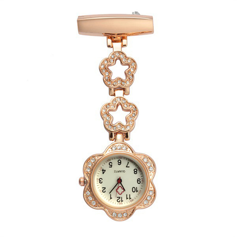 Fashion Women Pocket Watch Clip-on Heart/Five-pointed Star Pendant Hang Quartz Clock For Medical Doctor Nurse Watches TS95