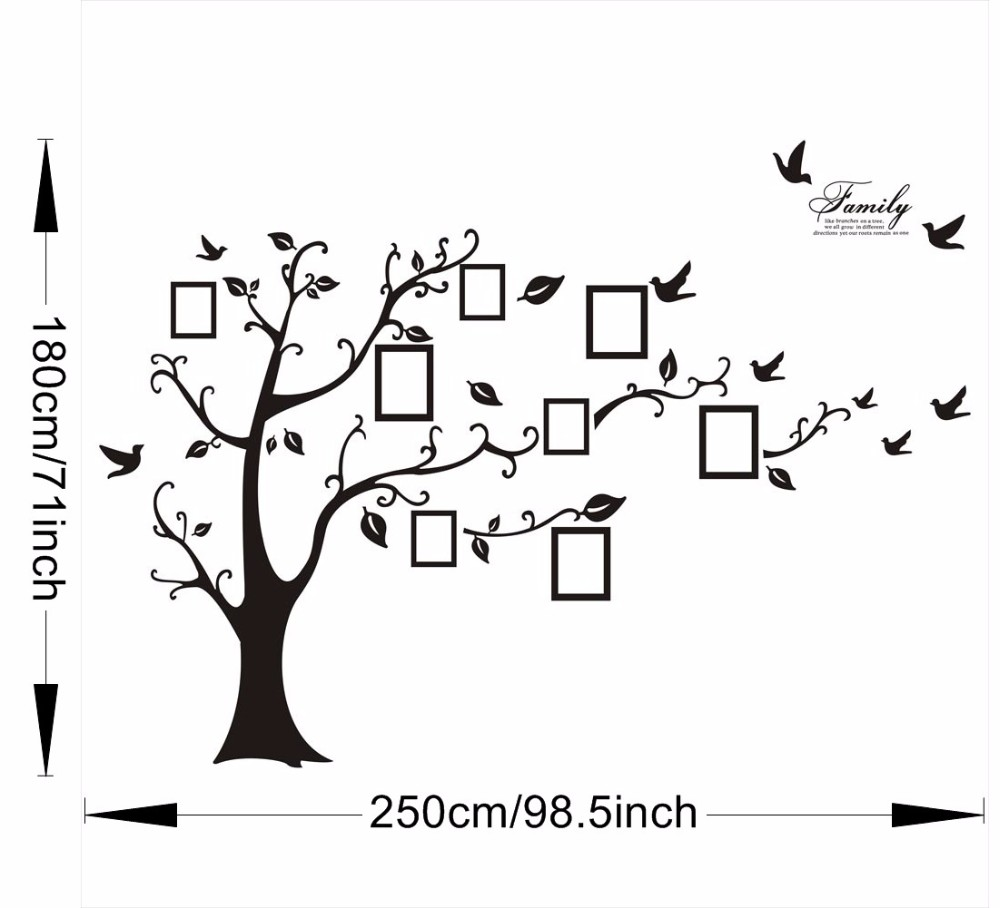 Image 4 - Large 200*250Cm/79*99in Black 3D DIY Photo Tree PVC Wall Decals/Adhesive Family Wall Stickers Mural Art Home Decor-in Wall Stickers from Home & Garden