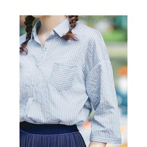 Image 4 - INMAN Summer Turn Down Collar Retro Striped Korean Fashion Literary All Matched Half Sleeves Women Shirt