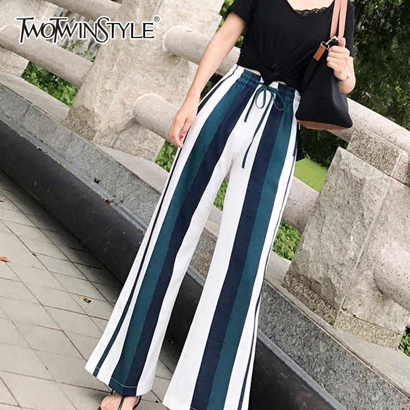 TWOTWINSTYLE Striped Chiffon   Pants   High Waist Lace up   Wide     Leg     Pants   Female Trousers Casual Korean Clothes Big Sizes 2018 Autumn