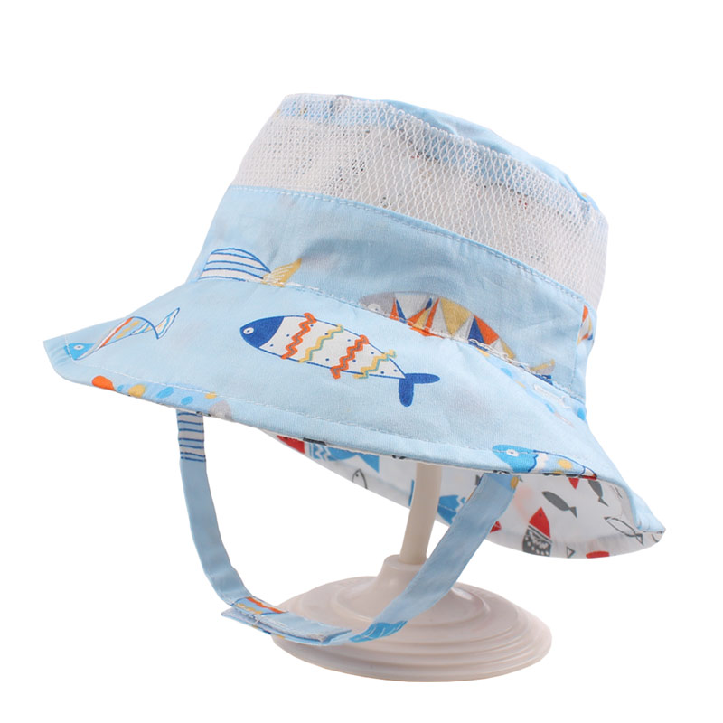 Reversible Mesh Baby Bucket Sun Hat Infant Boys Girls Summer UV Protection Cap with Wide Brim Fashion Cotton Bonnet Chinstrap Stay On (2)
