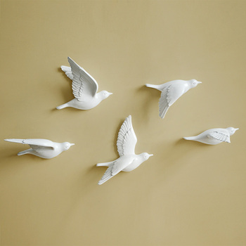 White birds décor wall in wall stickers 3d Birds decoration garden living room kids room decoration birds figurine miniatures