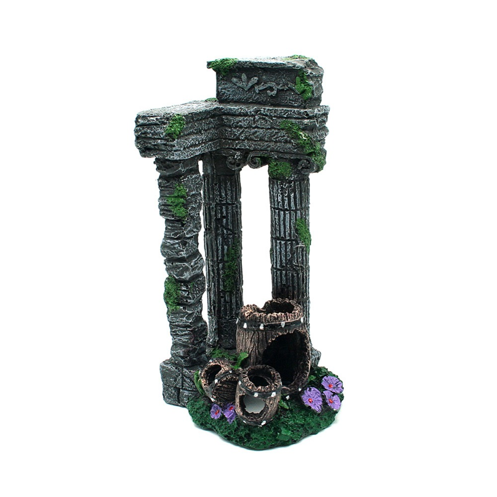 1pcs fish tank decor simulation resin roman gate post for Aquarium decoration ornaments