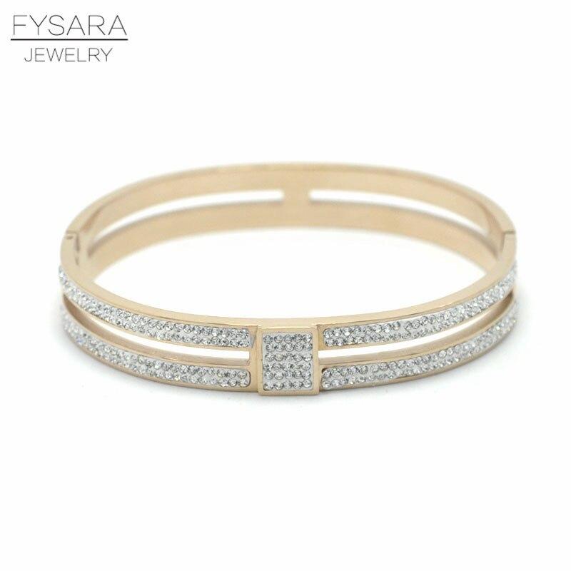 FYSARA Full Crystal Austrian Rhinestone Bangle For Women Charm Jewelry Party Gold Lover Bangle Braceletes CZ Crystal Pulseras