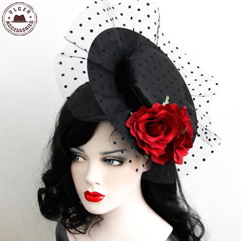 ᐂAlta calidad mujeres Niñas Cara velo diadema Rosa ala del sombrero ...